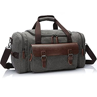 Canvas Duffel Bag, Aidonger Vintage Canvas Weekender Bag Travel Bag Sports Duffel with Shoulder Strap (Gray-21)