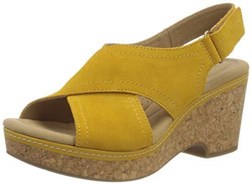 Clarks Giselle Cove, Sandalia con talón Mujer, Golden Yellow Leather, 39 EU