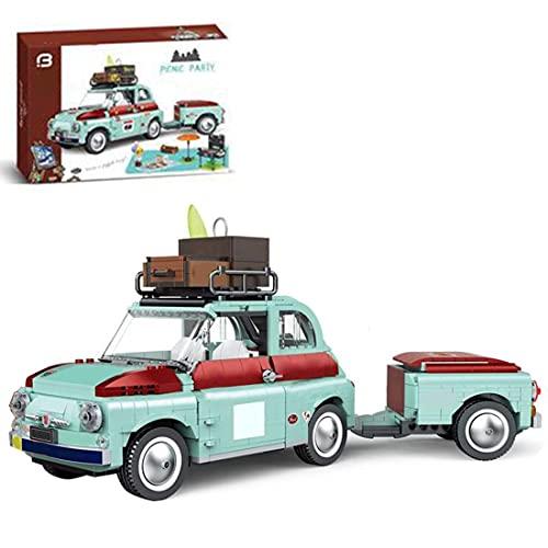 LINANNAN 1475Pcs Picnic Car Building Block Set Trailer Pickup Trucks Building Blocks Campervan Compatible with