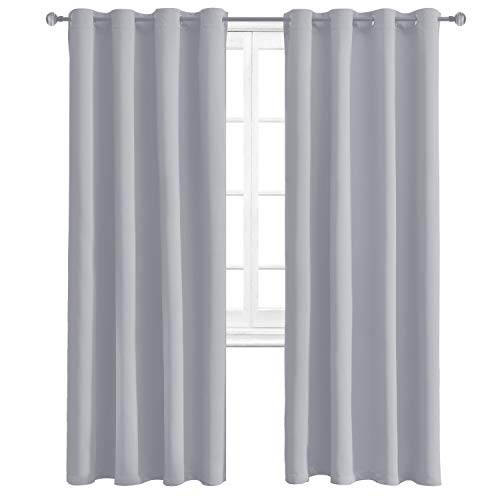 WONTEX Thermal Blackout Curtains for Bedroom - Winter Insulating Window Curtain Panels for Living Room, 52 x 84 inch, Silvery Grey, Set of 2 Grommet Curtain