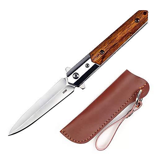 Eil Klappmesser Outdoor Survival Messer Taschenmesser mit Holzgriff, Outdoor-Messer für Camping, Klappmesser mit Glasbrecher, Scharfes Einhandmesser