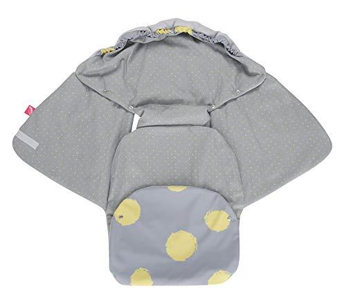 Baby Softshell inslagdeken voor babyschaal, autostoel, Maxi-Cosi, Romeinse en andere merken, ideaal voor kinderwagen, fietsaanhangers, buggy - gele klittenband