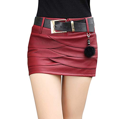 Hongxin Mujeres Mini Falda de Cuero de la PU de Fresca Cintura Alta Cremallera Plisada Falda Corta...