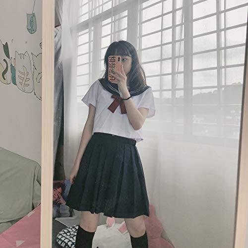 Baipin Uniforme Escolar de Japón Traje de Marinero Disfraz de Colegiala Japonesa, Top de Manga Corta + Falda (L)