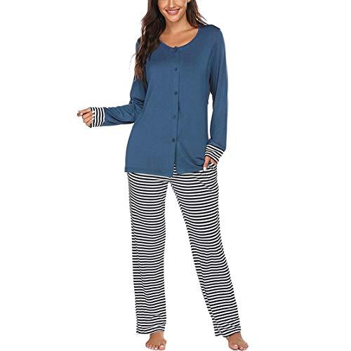 Pijama Premama Otoño Invierno Ropa Premamá Embarazadas Mangas Largas Camiseta con Botones y Pantalones a Rayas Conjunto para Lactancia Parto Hospital/M