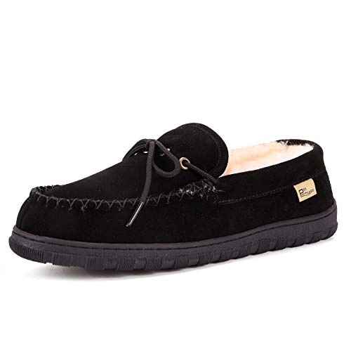 Pinpochyaw Men's Moccasin Slippers, Slip On Shoes with Cow Suede Sheepskin Plush Lining Warm Comfortable Anti Slip Indoor Outdoor Driving Shoes (9 B(M) US,Black)