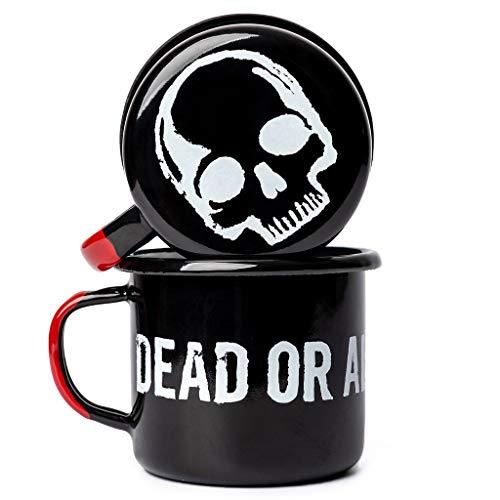 DEAD OR ALIVE Emaille Tasse 350 ml ⎮ unzerbrechlicher Emaille Becher ⎮ hochwertiger Kaffeebecher für Kaffeeliebhaber ⎮ Kaffeetasse (Schwarz)