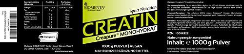 Biomenta® 1000g reines Creatin Monohydrat Pulver | Hochwertiges geschmacksneutrales Creapure® Creatine / Kreatin | Optimiert mit Vitamin B6 (Pyridoxin), B9 (Folsäure) und B12 (Methylcobalamin) | Hergestellt in Deutschland | Unterstützt beim Kraftsport & Bodybuilding - 3
