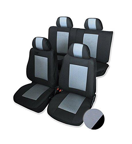 Schonbezüge Auto Sitzbezüge mit teilbarer Rücksitzbank Grau LUX Komplettsatz Hochwertig Polyester Neu
