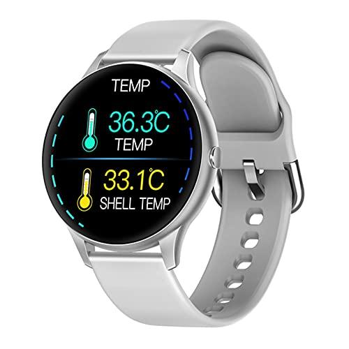 ZYY Termómetro K21 Reloj Inteligente Monitor de Temperatura Corporal Menos Y Mujeres Rastreador de Fitness con Monitor de presión Arterial Bluetooth SmartWatch,A