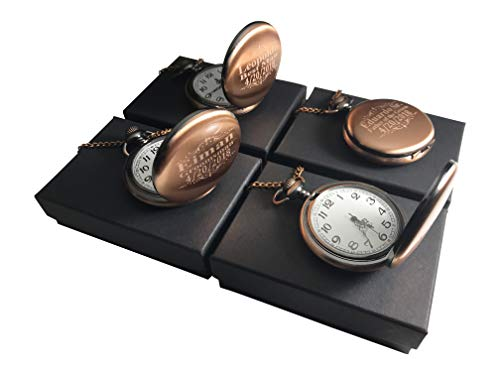 8 Personalized Pocket Watches, Set of 8 Groomsmen Wedding Unique Gifts, Chain, Box and Engraving Included, Comes in 4 Colors (Silver) (Gold Vintage) (Rose Gold) (Rose Gold)