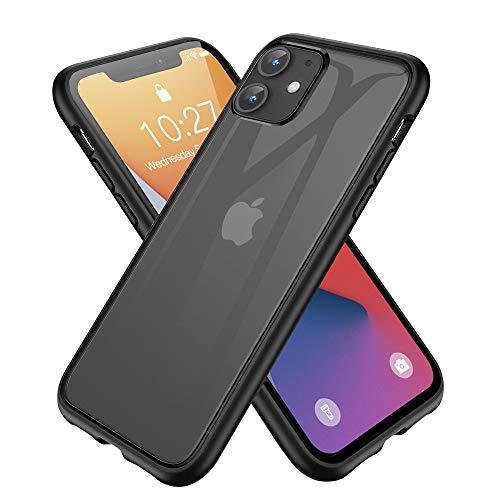 iPhone 12 mini 用ケース 耐衝撃 半透明 TPU ソフトバンパー PC マット加工 黄ばみなし レンズ保護 アイフォン12 mini用 カバー ワイヤレス充電対応 手触り良い 耐久 ブラック