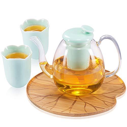 ZENS Théière en Verre Transparente, 1.4L, avec Infuseur Amovible en Porcelaine, Service à thé, Tasse en Forme d'une Fleur et Plateau en Bambou d'un Aspect de Feuille Lotus