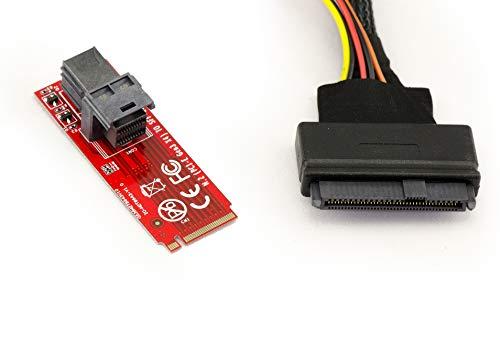 Kalea Informatique Konverter Adapter U2(68pin sff-8639) auf M2PCIe M Key 4Lane (Mini SAS 8643)–Kabellänge 1m–für Montage Ein SSD u.2EN Lieu ET Place eines SSD m.2Gen 3.0nvme