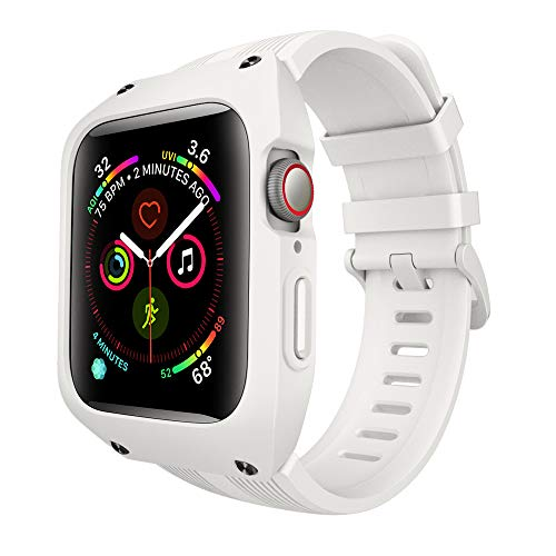 VANCHAN Compatible with Apple Watch Bands 44mm Series 6/5/4 & Apple Watch SE 44mm Band, Sport Soft Silicone Band with Protective Case Men Women for Apple Watch SE & iWatch Series 6/5/4 44mm (White)