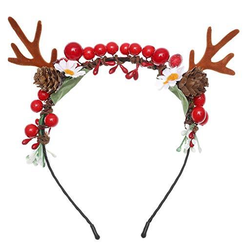 Weihnachten Stirnbänder Rentier Geweih Haarreife - Weihnachten Rentier Ohren Geweih Haarband Verrücktes Kleid Neuheit Zubehör für Damen Mädchen Kopfschmuck (Geweih + Tannenzapfen + Rote Früchte)