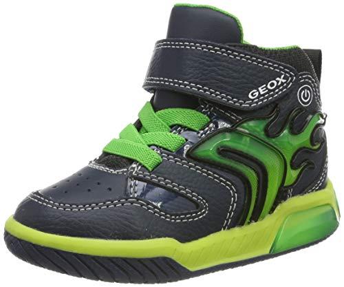 Geox Jungen J INEK Boy C Hohe Sneaker, Blau (Navy/Lime C0749), 24 EU