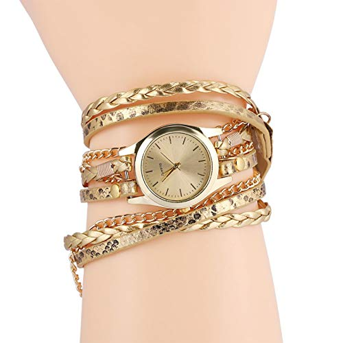 Brrnoo 7 Farben Frauen Braid Weave Armband Armbanduhr, Kleideruhren Quarz Analog Runde Uhr Armbanduhr für weibliche Armbanduhr Teen Girls Armbanduhr(Gold)