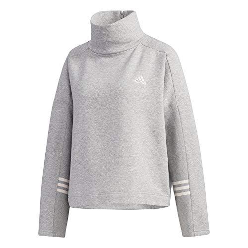adidas W E Comf Fn Swt Felpa, Donna, Medium Grey Heather, 2XS