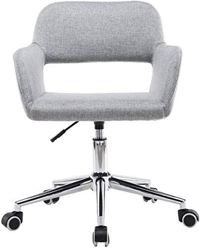 Sillas de Oficina Muebles Ergonómica Mesa de Oficina para el hogar, Sofá de Lino Giratorio de la Espalda Media, Tarea pequeña de Altura adjuadable (Color : Light Gray)