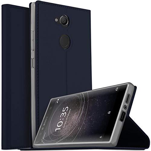 Verco Handyhülle für Xperia L2, Premium Handy Flip Cover für Sony Xperia L2 Hülle [integr. Magnet] Book Hülle PU Leder Tasche, Blau