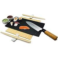 NERTHUS FIH 357 Set De Sushi, Negro/Plata, Porcelana