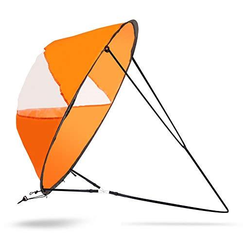 MAGT Vela de Kayak, Vela de Kayak Plegable al Aire Libre Windwind Sail Compact Kayak Clear Wind Sail Paddle Accesorios de Kayak para Botes inflables Kayaks Canoas(Naranja)