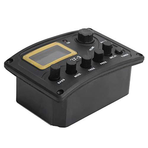 Pastilla de ecualizador, sistema de sintonizador LCD, ajuste de volumen, guitarra de 4 bandas, pastilla de ecualizador de guitarra, para accesorio de guitarra afinador de guitarra