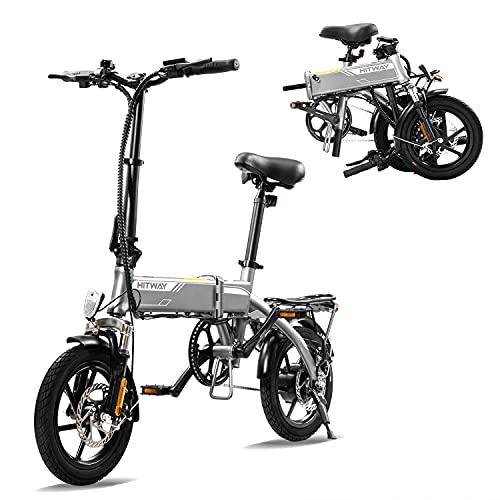 HITWAY Bicicleta eléctrica E Bike Bicicletas urbanas Bicicleta Plegable Bicicleta Fabricada en Aluminio de aviación, batería de 7.5Ah, Motor de 250 W, Alcance hasta 45 km BK3-HW