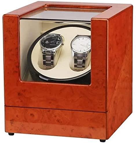 M.Xiao Brown Doble Reloj Reloj de Reloj, Piano Lacado Exterior y PU Cuero Interior, Reloj Rotating Boxed Boxed Damas y Decoraciones