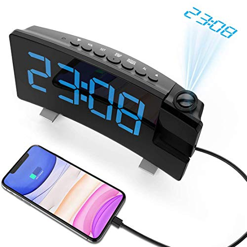 Senli Projection Alarm Clock, 15 FM Radio Digital Clock, Dual Alarms with Snooze, Sleep Timer, 6 Dimmer, 7'' Large Curved Screen, USB Phone Charging Port, 180° Adjustable Ceiling Projection Clock