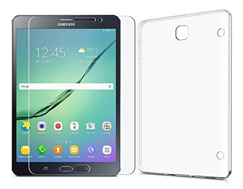 Domxteck (2 in 1 Pack Custodia Protettiva in Silicone Trasparente per TPU + Proteggi Schermo 9H per Samsung Galaxy Tab S2 8.0