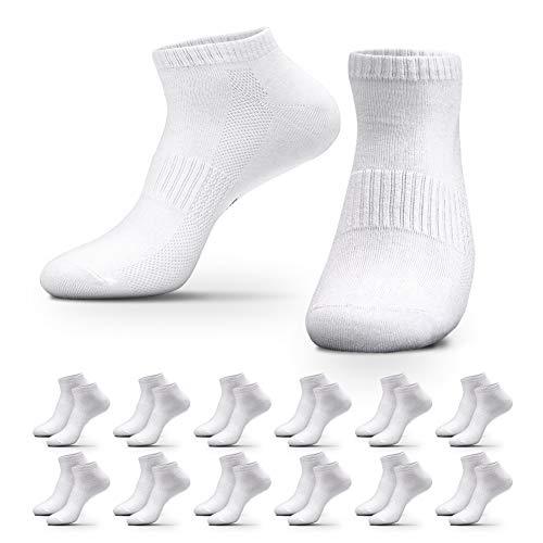QINCAO 12 Paar Sneaker Socken Herren Damen Sportsocken Baumwoll Unisex Weiß, 43-46