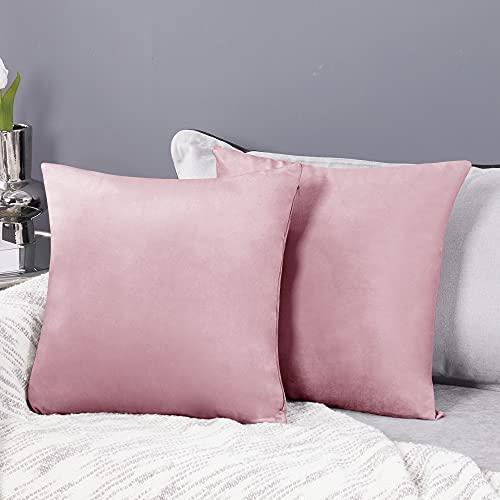 Deconovo Fundas para Cojines de Almohada del Sofá Cubierta Suave Decorativa Protector para Hogar 2 Piezas 50 x 50 cm Rosa Sakura