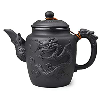 Teapot Chinese Yixing Gongfu Tea Large Pots 600ml Dragon Stainless Filter for Loose Tea  black