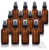 2 oz / 60 ml Amber Glass Boston Round Bottle with Black Treatment Pump (12 Pack) BPA Free Refillable Empty Storage Containers
