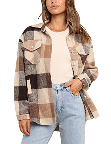 UANEO Womens Casual Plaid Wool Blend Button Down Long Sleeve Shirt Jacket Shackets (Brown, M)