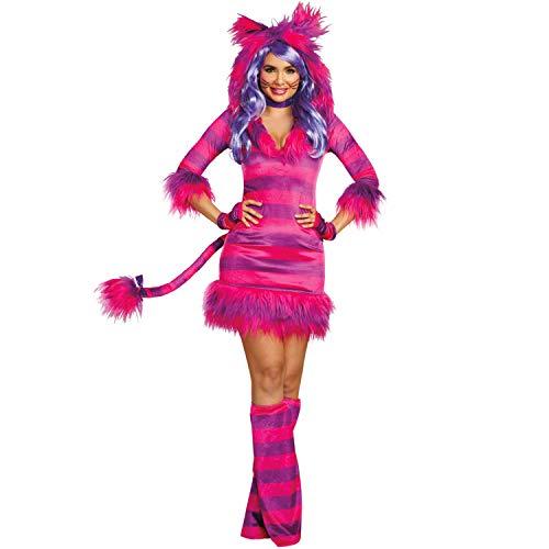 Dreamgirl Damen Kostüm Grinsekatze Alice im Wunderland Tier Katze Fasching (L)