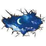 Fablcrew ウォールステッカー 3D 破局壁 夜空 壁ステッカー インテリア ウォールペーパー おしゃれ アート 窓ステッカー ウォール装飾 剥がせる 家飾り 背景飾り