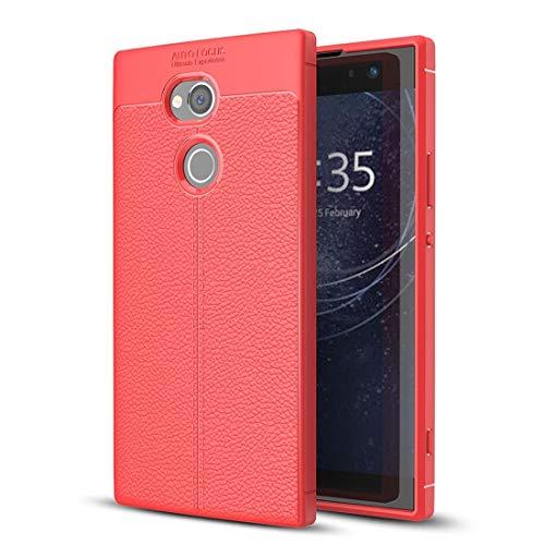Zhouzl Custodie Sony Custodia Protettiva in TPU for Sony Xperia XA2 Ultra Litchi Texture Morbida (Nero) Custodie Sony (Colore : Red)