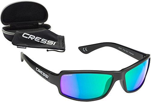 Cressi XDB100011 Gafas de Sol, Unisex Adulto, Negro/Lentes espejadas Verde, Ultra Flex Talla única