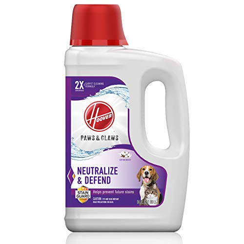 Hoover Paws & Claws Deep Cleaning Carpet Shampoo with Stainguard, Concentrated Machine Cleaner Solution for Pets, 64ounce Formula, AH30925, White, Package May Vary