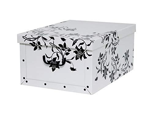 """XXL Dekokarton mit modernem Muster """"Barock Blumen Weiß"""" - Tolles Motiv, passt in jeden Haushalt! Edel und hochwertig! Mit Griffen zum Tragen und XXL Volumen!"""