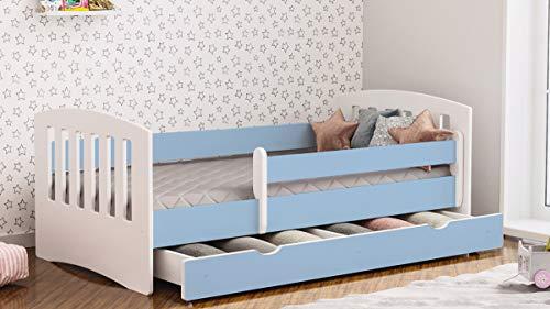 Letto per bambini Junior Lettino per bambino con materasso e cassetto estraibile inclusi nel prezzo - Classico (Blu,180x80)