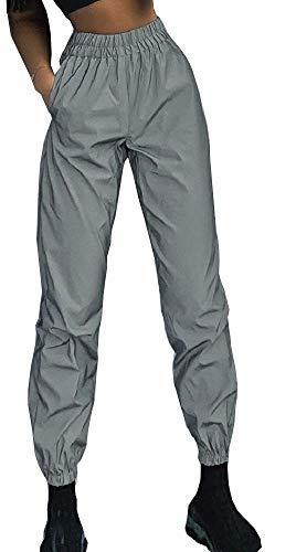 pantaloni donna hip hop Pantaloni fluorescenti Femmina - Donna - grigio - Riflettente - Catarifrangenti - Misura M - Sport - Molto visibili - Streetwear - Sportivi - Jogging - Hip hop - Luminosi - Idea regalo originale