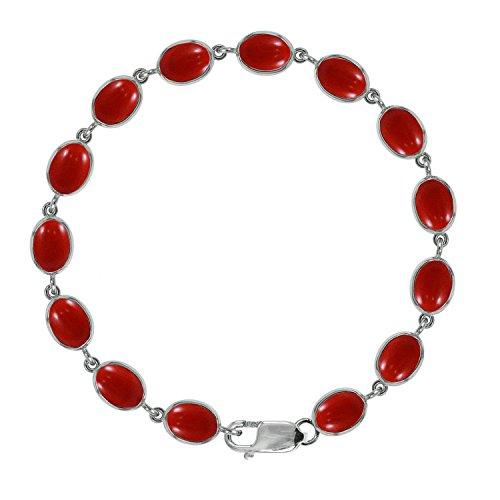 Bjc 925sterling Silver corallo rosso naturale bracciale tennis 21.00ct nuovo in confezione regalo