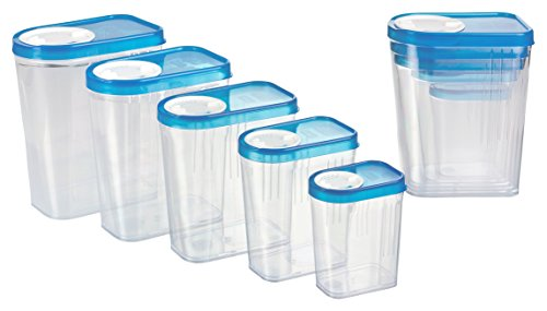 Kigima Gewürzdosen Schüttdosen Streudosen Vorratsdosen 10er Set 0,25 bis 1,5l blau