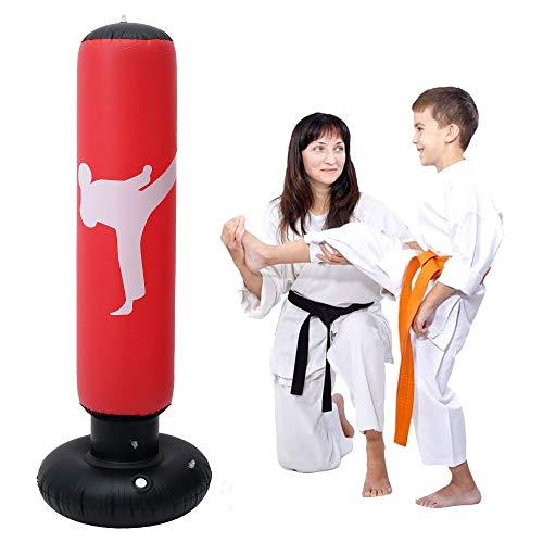 Sacco da Boxe da Terra 160 cm Sacco da Boxe per praticare Karate del Sacchetto di Pugilato di Addestramento per Bambini e Adulti (Rosso)