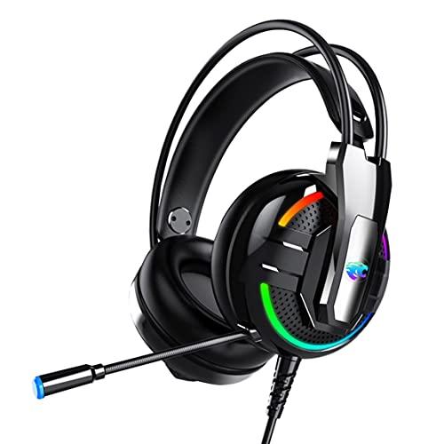 A18 RGB LED Gaming Headset Casque Jeu Casque avec Microphone Super Bass Stéréo Haedphone pour PC Ordinateur Téléphone Gamer - Noir