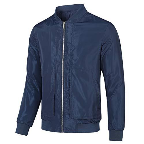 Allthemen Mens Casual Jackets Lightweight Bomber Jackets Slim Fit Outwear Classic Windbreaker Navy L
